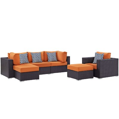Ryele 6 Piece Deep Seating Group Fabric: Orange