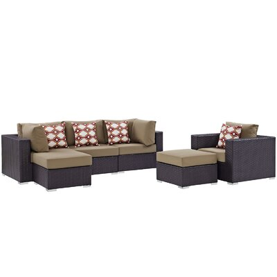 Ryele 6 Piece Deep Seating Group Fabric: Mocha
