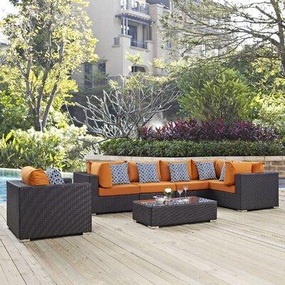 Ryele 7 Piece Metal Frame Deep Seating Group Fabric: Orange