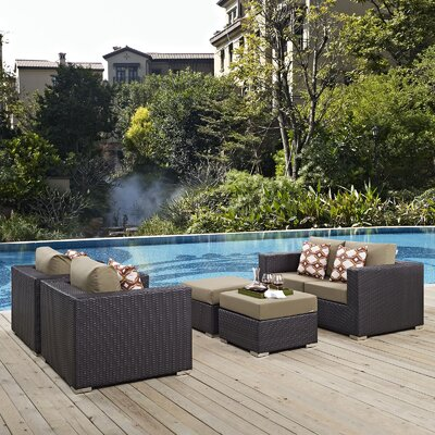 Ryele 5 Piece Rattan Deep Seating Group Fabric: Mocha
