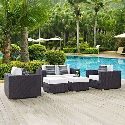 Ryele 5 Piece Rattan Deep Seating Group Fabric: White