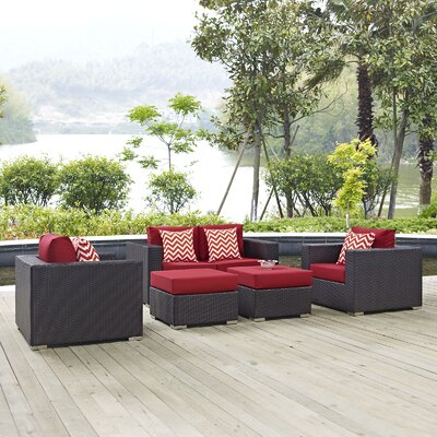 Ryele 5 Piece Rattan Deep Seating Group Fabric: Red