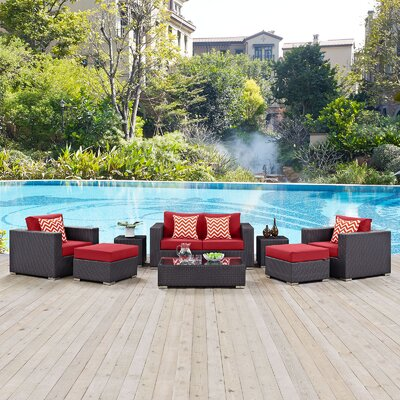 Ryele Contemporary 8 Piece Deep Seating Group Fabric: Red