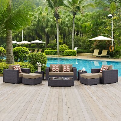 Ryele Contemporary 8 Piece Deep Seating Group Fabric: Mocha