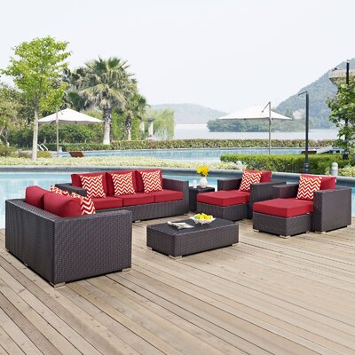 Ryele 9 Piece Deep Seating Group Fabric: Red
