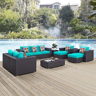 Ryele 9 Piece Deep Seating Group Fabric: Turquoise