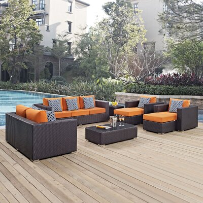 Ryele 9 Piece Deep Seating Group Fabric: Orange