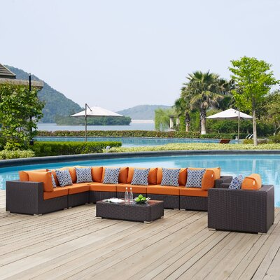 Ryele 3 Piece Deep Seating Group Fabric: Orange
