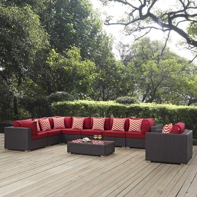 Ryele 3 Piece Deep Seating Group Fabric: Red