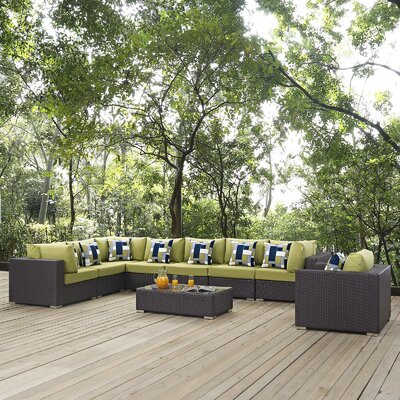 Ryele 3 Piece Deep Seating Group Fabric: Peridot