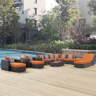 Ryele 12 Piece Deep Seating Group Fabric: Orange