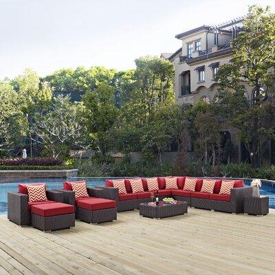 Ryele 11 Piece Deep Seating Group Fabric: Red