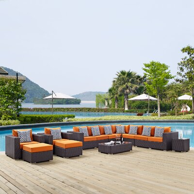 Ryele 11 Piece Deep Seating Group Fabric: Orange