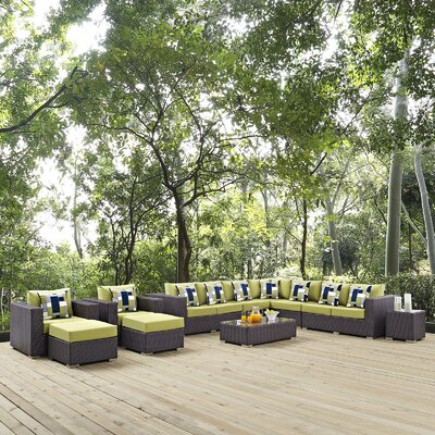 Ryele 11 Piece Deep Seating Group Fabric: Peridot