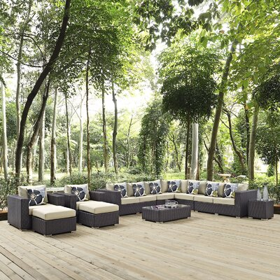 Ryele 11 Piece Deep Seating Group Fabric: Beige