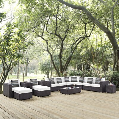 Ryele 11 Piece Deep Seating Group Fabric: White