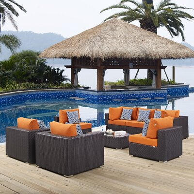 Ryele 8 Piece Metal Frame Deep Seating Group Fabric: Orange
