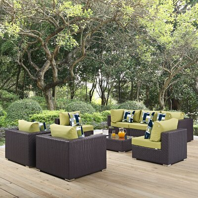 Ryele 8 Piece Metal Frame Deep Seating Group Fabric: Peridot