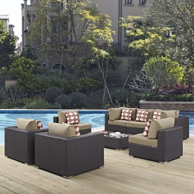 Ryele 8 Piece Metal Frame Deep Seating Group Fabric: Mocha
