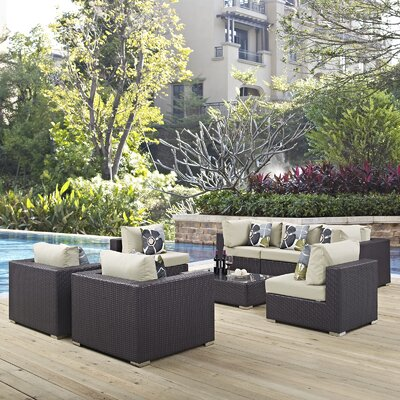 Ryele 8 Piece Metal Frame Deep Seating Group Fabric: Beige