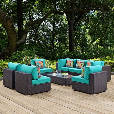 Ryele 8 Piece Deep Seating Group with Cushions Fabric: Turquoise