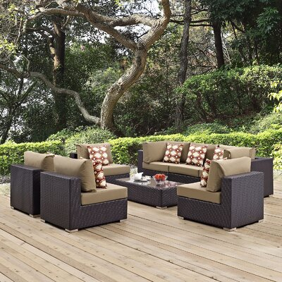Convene 8 Piece Deep Seating Group Fabric: Mocha