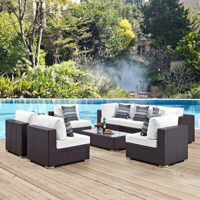 Ryele 8 Piece Deep Seating Group with Cushions Fabric: White
