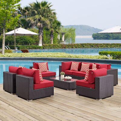 Ryele 8 Piece Deep Seating Group with Cushions Fabric: Red