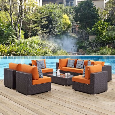 Convene 8 Piece Deep Seating Group Fabric: Orange