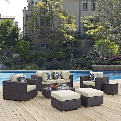 Ryele 8 Piece Rattan Deep Seating Group Fabric: Beige