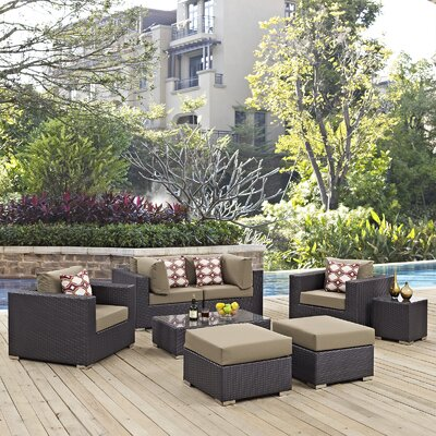 Ryele 8 Piece Rattan Deep Seating Group Fabric: Mocha
