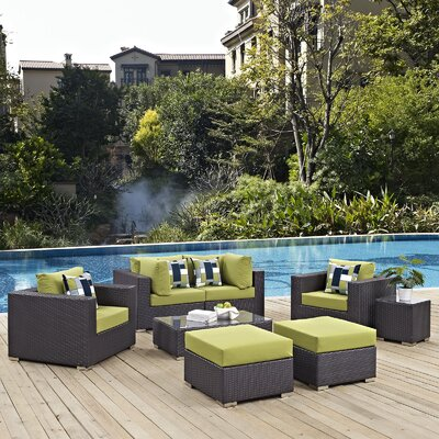 Ryele 8 Piece Rattan Deep Seating Group Fabric: Peridot