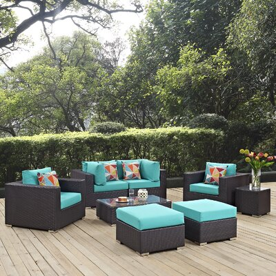 Ryele 8 Piece Rattan Deep Seating Group Fabric: Turquoise