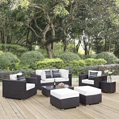 Ryele 8 Piece Rattan Deep Seating Group Fabric: White