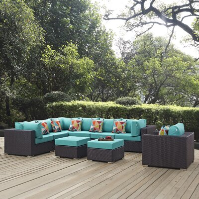Convene 9 Piece Deep Seating Group Fabric: Turquoise