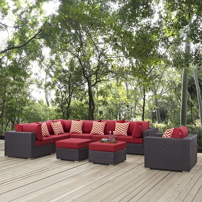 Convene 9 Piece Deep Seating Group Fabric: Red