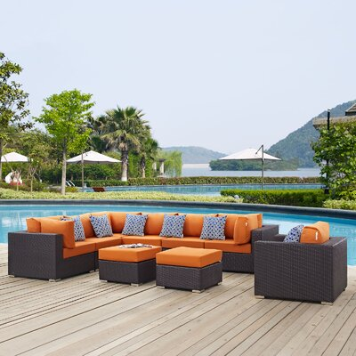 Ryele Contemporary 9 Piece Deep Seating Group Fabric: Orange