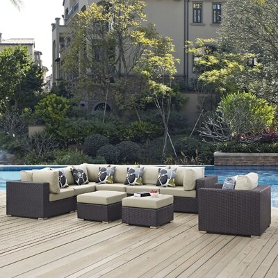 Ryele Contemporary 9 Piece Deep Seating Group Fabric: Beige
