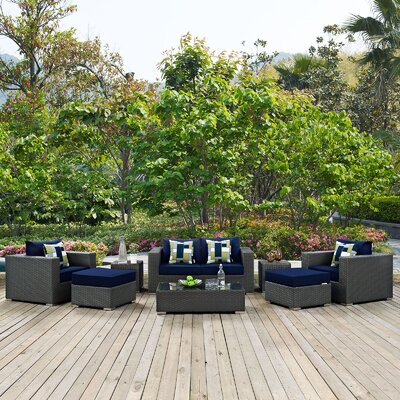 Sojourn 8 Piece Deep Seating Group Fabric: Navy