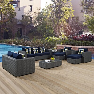 Sojourn 9 Piece Deep Seating Group Fabric: Navy
