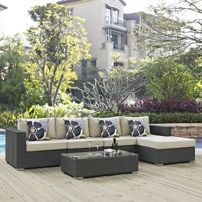 Sojourn 5 Piece Deep Seating Group Fabric: Beige