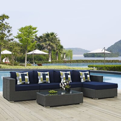 Sojourn 5 Piece Deep Seating Group Fabric: Navy