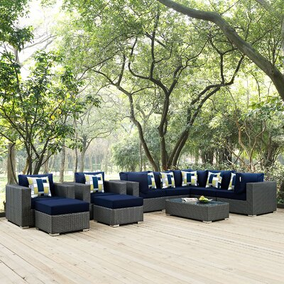 Sojourn 10 Piece Deep Seating Group Fabric: Navy