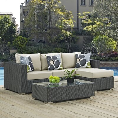 Sojourn 3 Piece Deep Seating Group Fabric: Beige
