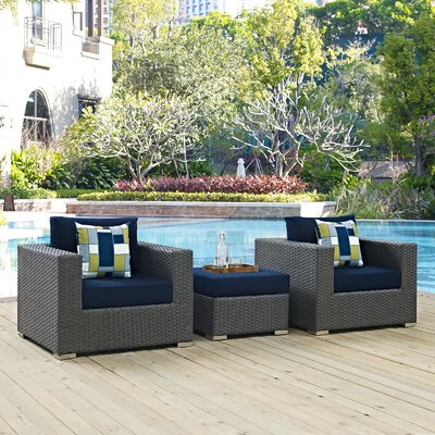 Sojourn 3 Piece Deep Seating Group Fabric: Navy