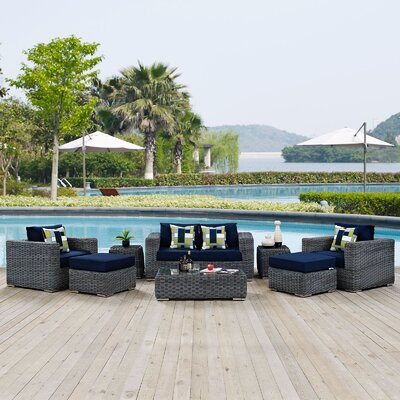 Summon 8 Piece Deep Seating Group Fabric: Navy