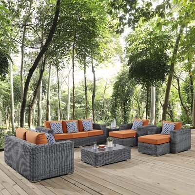 Summon 9 Piece Deep Seating Group Fabric: Tuscan
