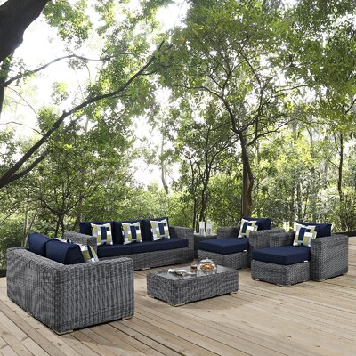 Summon 9 Piece Deep Seating Group Fabric: Navy