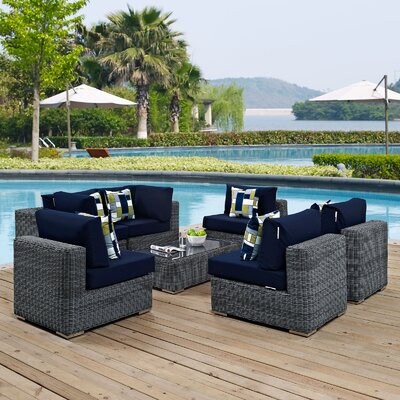 Summon 7 Piece Deep Seating Group Fabric: Navy