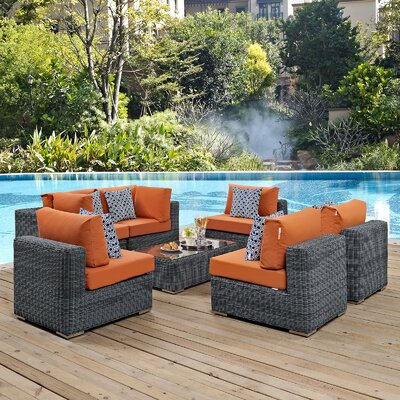 Summon 7 Piece Deep Seating Group Fabric: Tuscan